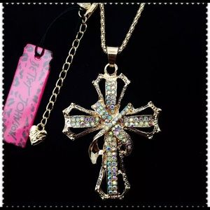 BETSEY JOHNSON ~Crystal Cross Necklace